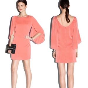 Milly Butterfly Sleeve Stretch Silk Crepe Dress